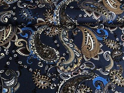 Nierītes uz tumši zila - viskozes trikotāža