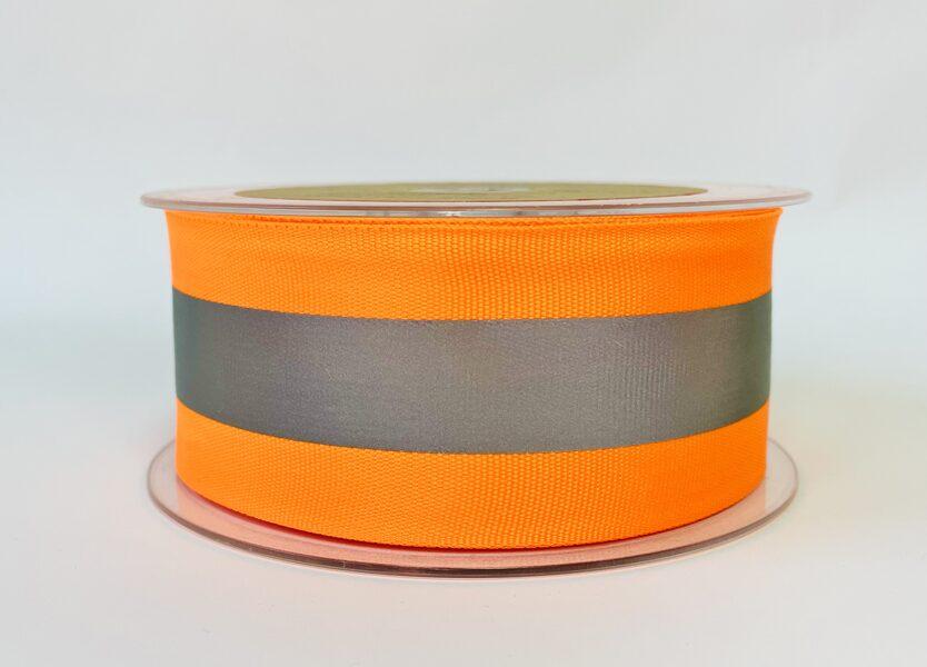 Neona oranža 5 cm atstarojošā lenta