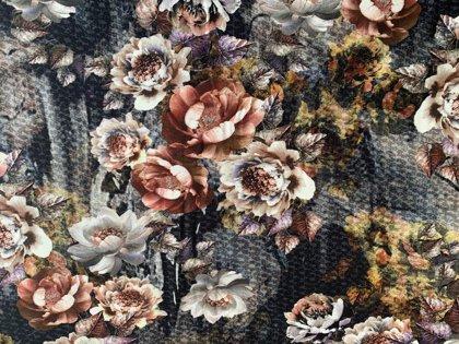 Brūnās puķes - viskozes trikotāža