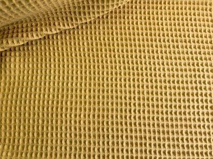 Sinepju dzeltens kokvilnas vafeļu audums